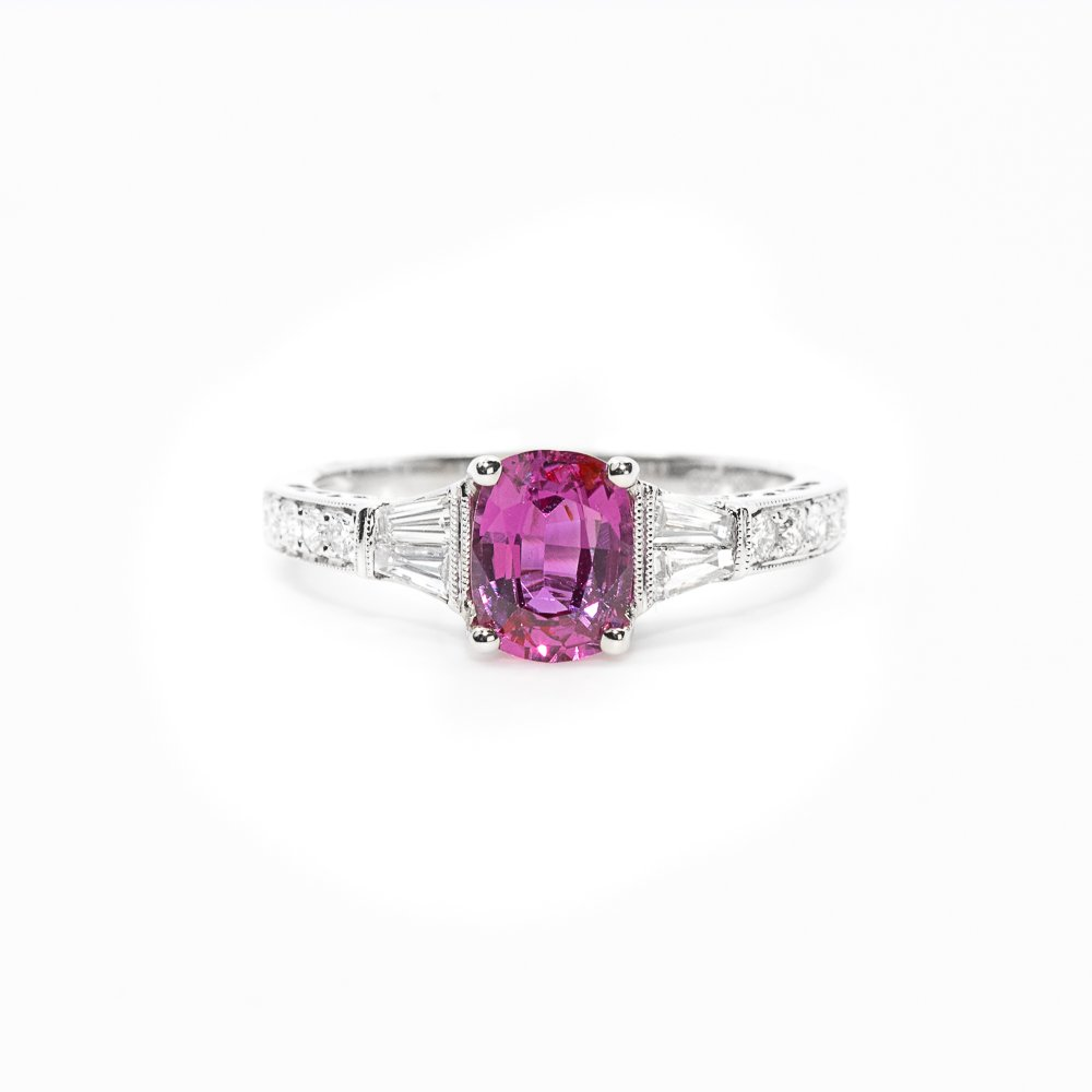 18k White Gold Natural Pink Sapphire and Diamond Ring