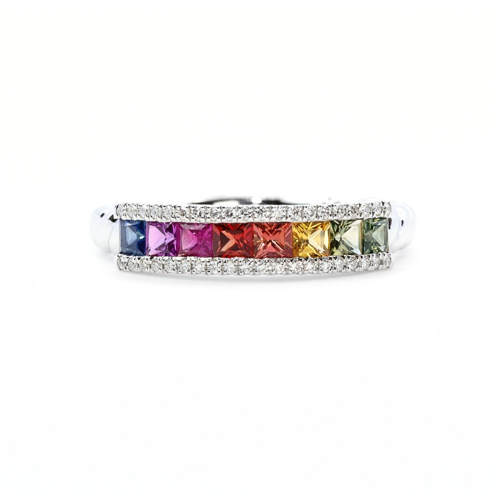 18k White Gold Natural Multi-Colored Sapphire and Diamond Ring
