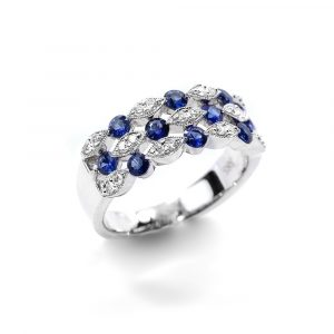 14k White Gold Natural Blue Sapphire and Diamond 3-Row Ring