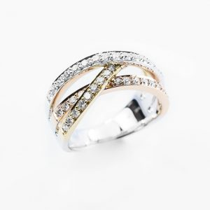 14k White, Yellow, and Rose Gold Natural Diamond Pave 3 Row Crossover Ring