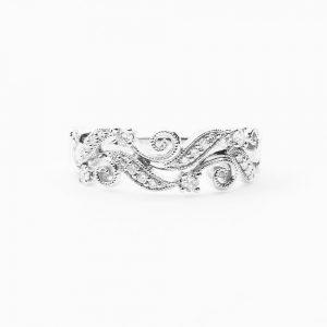 14k White Gold Natural Diamond Filigree Leaf Scroll Ring