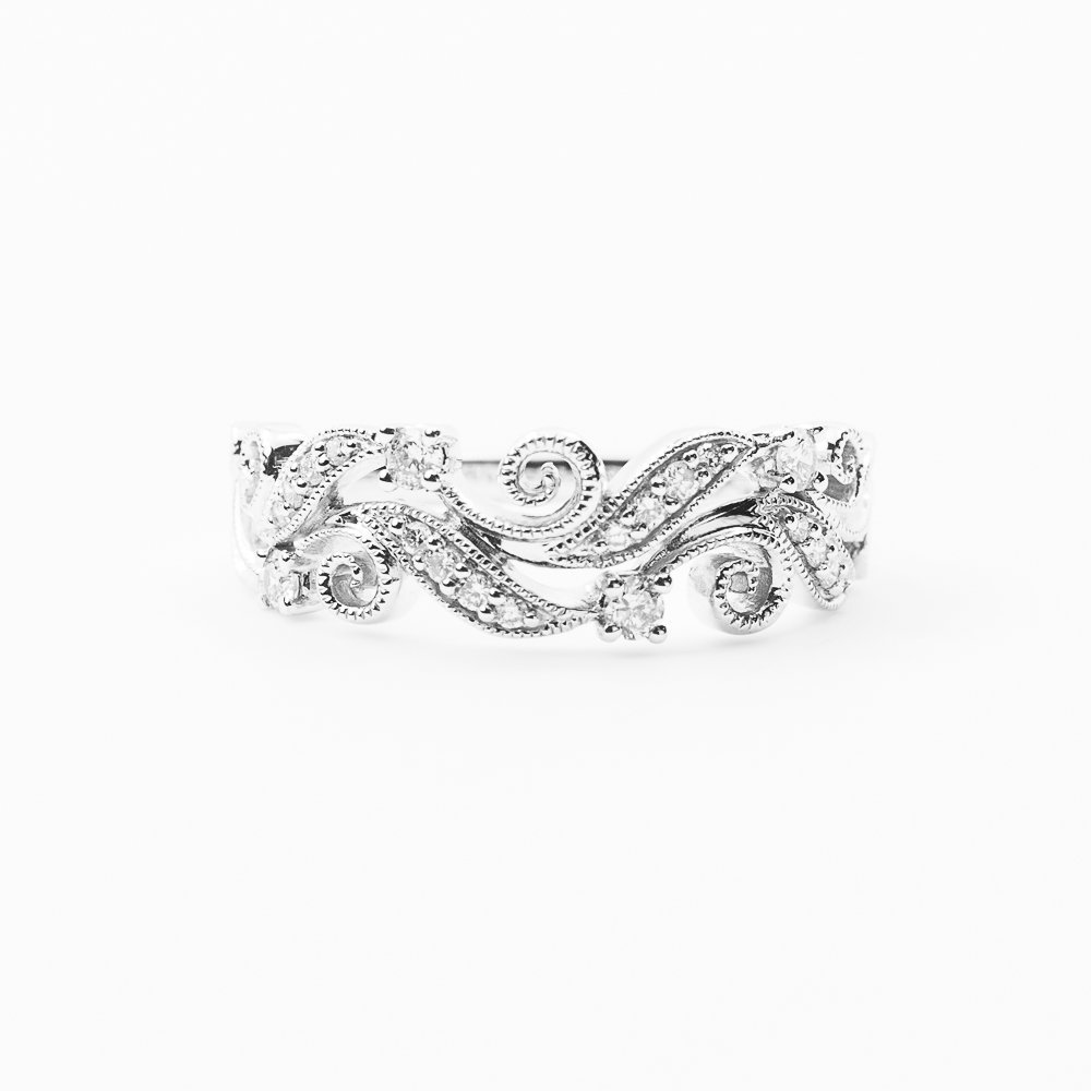 14k White Gold Natural Diamond Filigree Leaf Scroll Ring