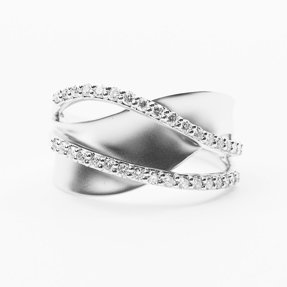 14k White Gold Natural Diamond Crossover Ring