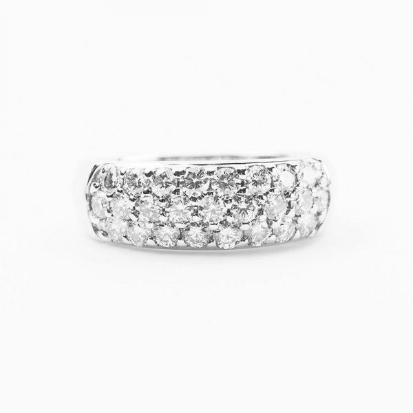 14k White Gold Natural Diamond 3-Row Pave Band