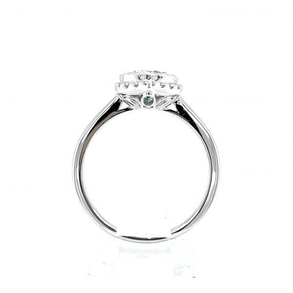 14k White Gold Aquamarine and Diamond Vintage Inspired Ring