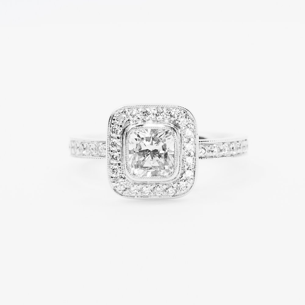 18k White Gold GIA Certified Natural Cushion Cut Diamond Halo Ring