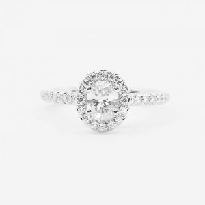 14k White Gold Natural Oval Cut Diamond Halo Ring