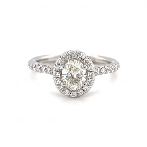 14k White Gold Oval Diamond Halo Ring