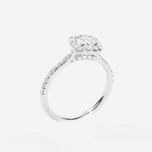 14k White Gold Natural Round Cut Diamond Halo Ring