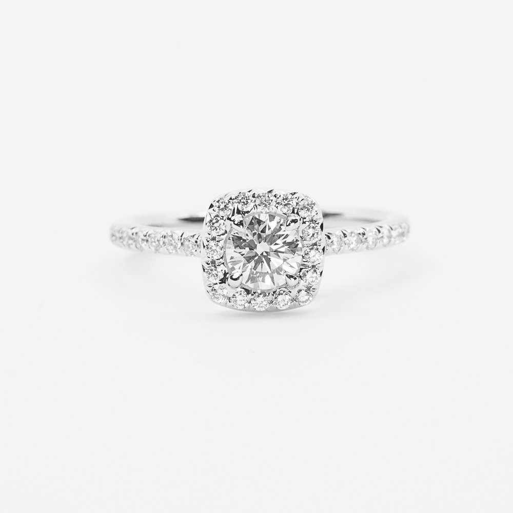 14k White Gold Natural Round Cut Diamond Halo Ring