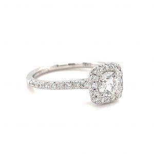 14k White Gold Round Diamond Halo Ring