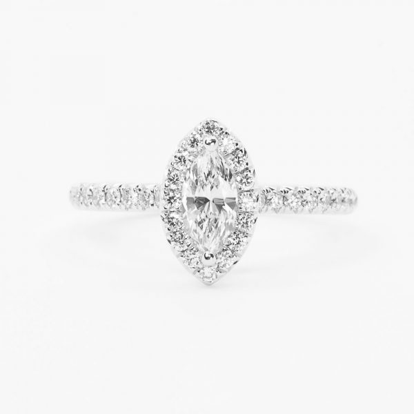 18k White Gold Natural Marquise Cut Diamond Halo Ring