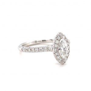 18k White Gold Marquise Diamond Halo Ring