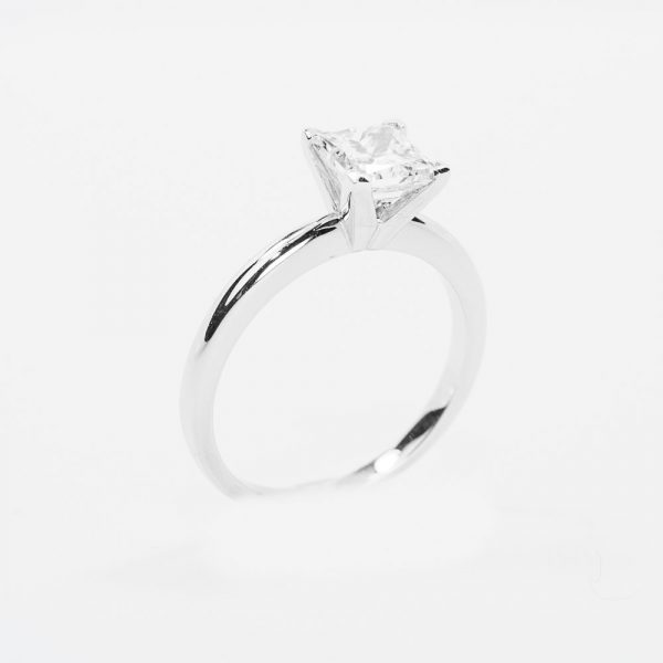14k White Gold Natural Princess Cut Diamond 4 Prong Solitaire