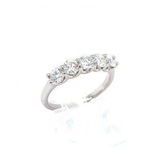 14k White Gold Natural Diamond 5-Stone Ring