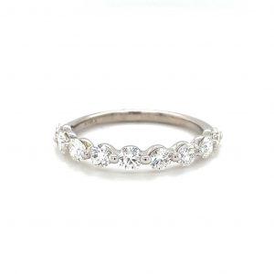 14k White Gold Natural Diamond 9-Stone Ring