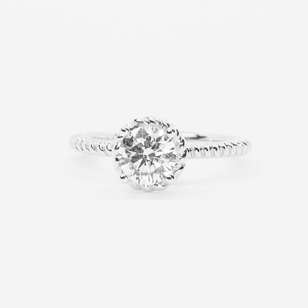 14k White Gold 4-Prong Solitaire Rope Detail Ring with CZ