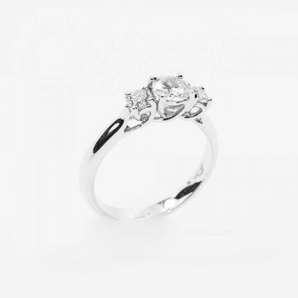 18k White Gold Natural Diamond 3-Stone Semi-Mounting