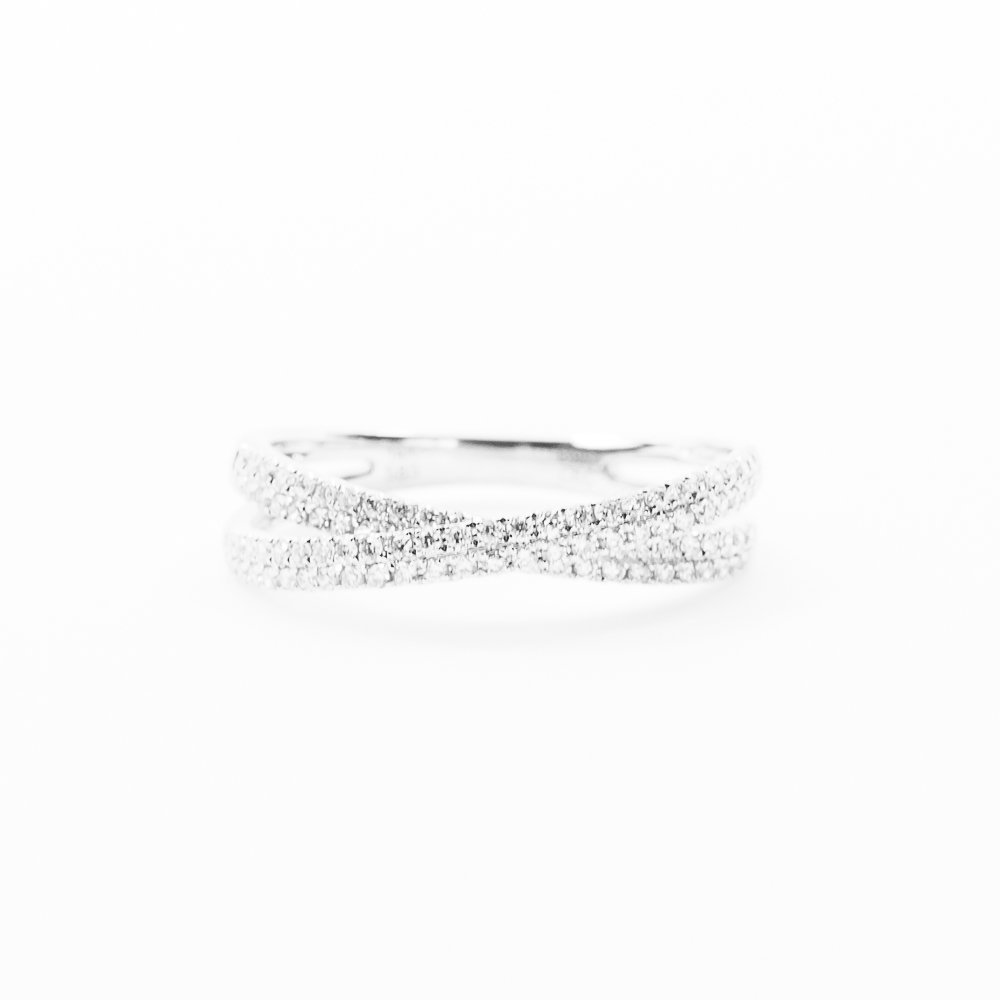 14k White Gold Natural Diamond Pave Criss-Cross Ring