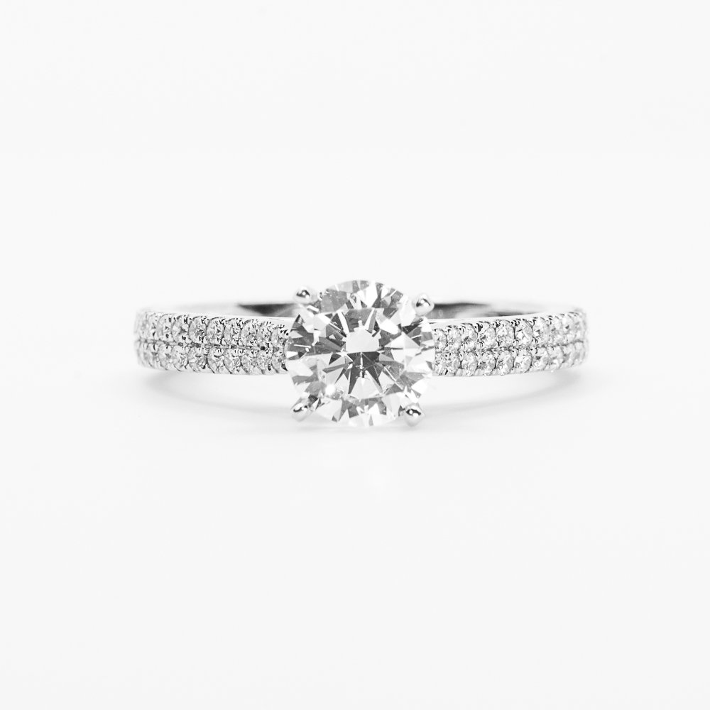 18k White Gold Natural Diamond Cathedral Engagement Semi-Mounting