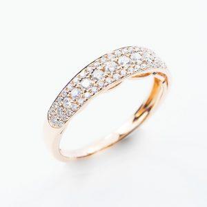 14k Rose Gold Natural Diamond 3 Row Pave Ring