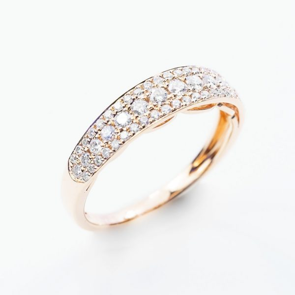 14k Rose Gold Natural Diamond 3 Row Pave Ring