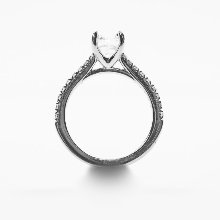 14k White Gold Natural Diamond Engagement Semi-Mounting