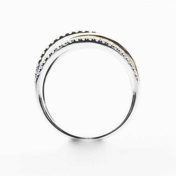 14k Yellow and White Gold Natural Diamond Multi-Row Ring