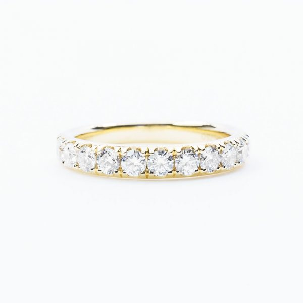 18k Yellow Gold Natural Diamond French-Set Ring
