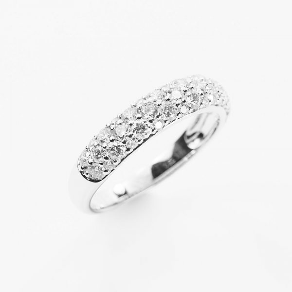 18k White Gold Natural Diamond 3-Row Pave Ring