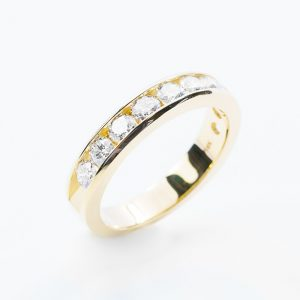 14k Yellow Gold Natural Diamond 10-Stone Channel Set Ring