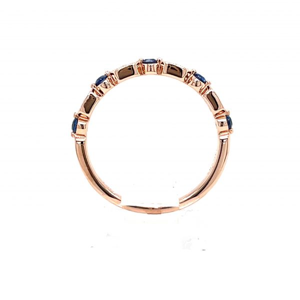 14k Rose Gold Blue Sapphire and Diamond Ring