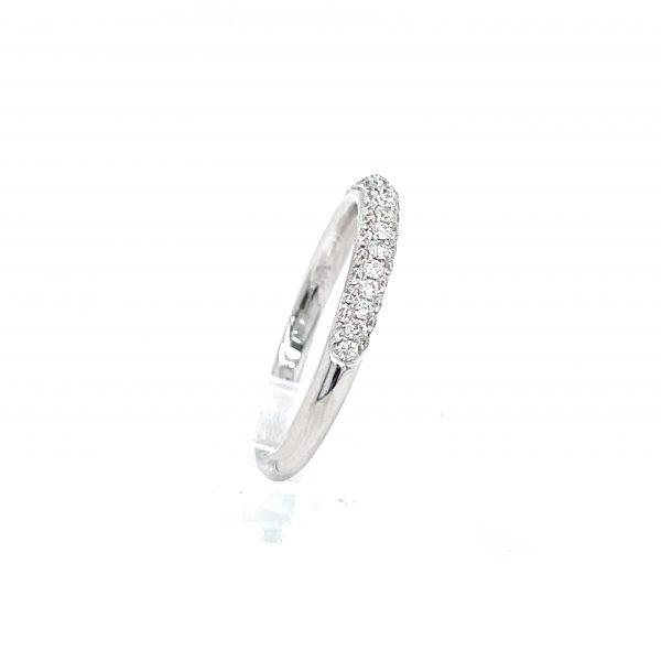 14k White Gold Natural Diamond Pave Ring