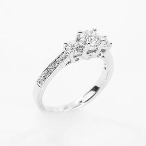 14k White Gold Natural Diamond 3-Stone Ring with Round Center Diamond