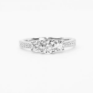 14k White Gold Natural Diamond 3-Stone Ring with Round Center Diamond