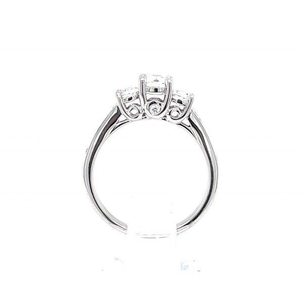 14k White Gold Natural Diamond 3-Stone Ring