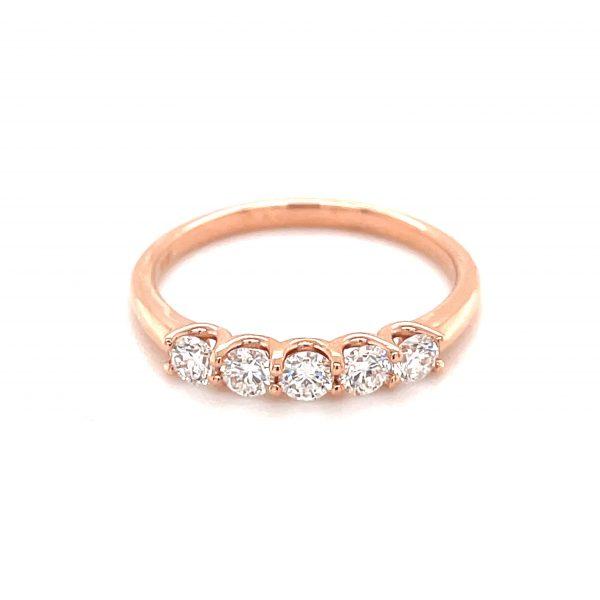 14k Rose Gold Diamond 5-Stone Band