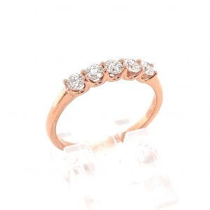 14k Rose Gold Diamond 5-Stone Band