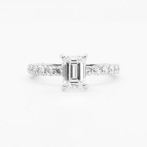 14k White Gold Natural GIA Certified 1.06ctw Emerald Cut Diamond Engagement Ring