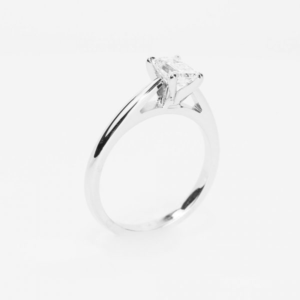 14k White Gold Natural Emerald Cut Diamond Solitaire Ring