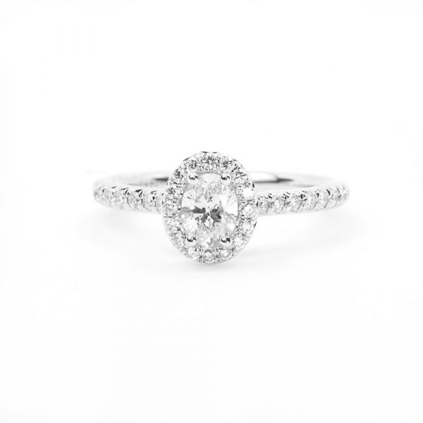 14k White Gold Oval Cut Natural Diamond Halo Ring