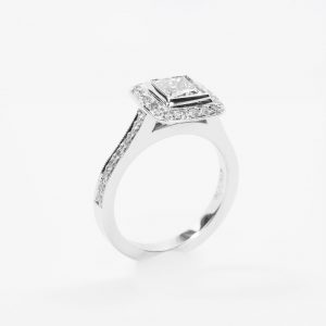 18k White Gold GIA Certified Natural Princess Cut Diamond Halo Ring