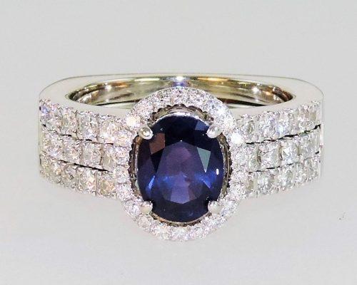 Sapphire & Diamond Slip-in Wedding Ring