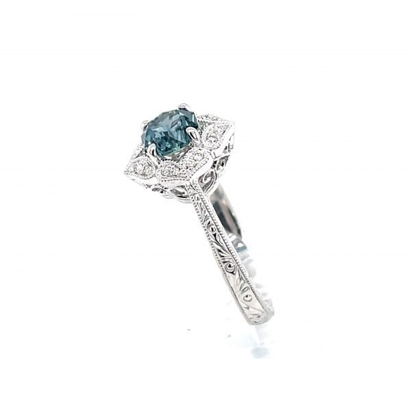 14k White Gold Natural Montana Sapphire and Diamond Vintage Halo Ring