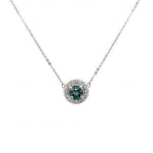 18k White Gold Alexandrite and Diamond Halo Pendant