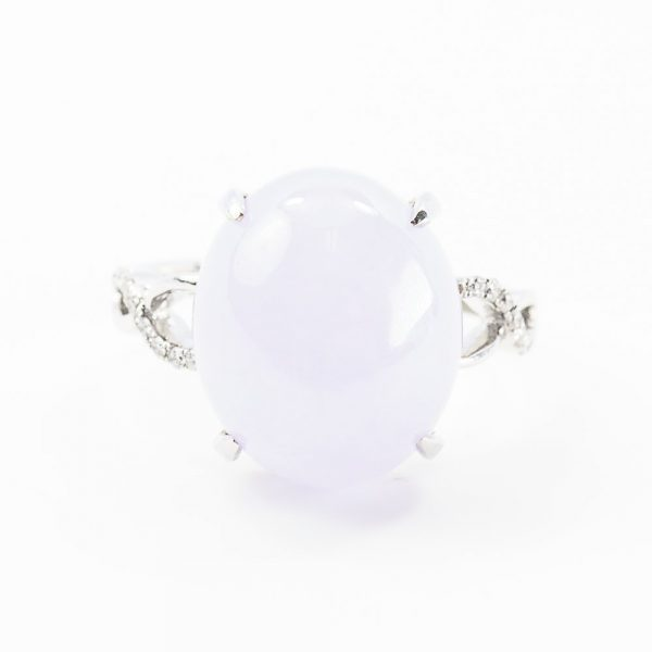 18k White Gold Natural Lavender Jade and Diamond Ring