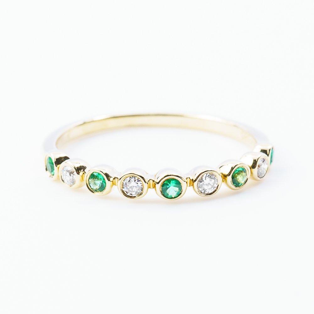 14k Yellow Gold Natural Emerald and Diamond Bezel Set Ring