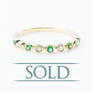 14k Yellow Gold Natural Emerald and Diamond Bezel Set Ring