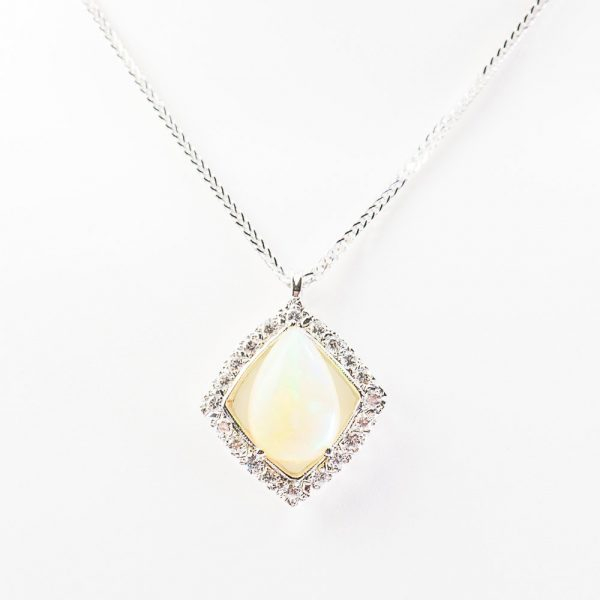 14k White Gold Diamond and Ethiopian Opal Pendant