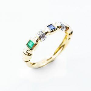 18k Yellow Gold Natural Emerald, Blue Sapphire, Ruby, and Diamond Ring